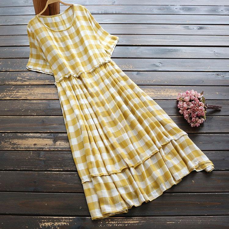 Vintage mori mädchen plaid gelb kleid 2021 sommer coton leinen dünne kurze ärmel o neck elegante weiblich koreanische mode robe casual kleider