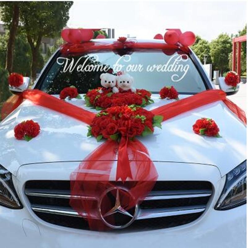 Düğün Araba Dekorasyon Ipek Çiçekler Ayı ile Düğün Araba Sahte Gül Çiçekler Garland Dekorasyon Düğün Centerpieces Çelenk SH190928