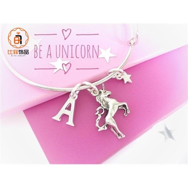 Charm Bilezikler Unicorn Pentagram Mektup Midilli Lady Alaşım Bileklik1les93fs