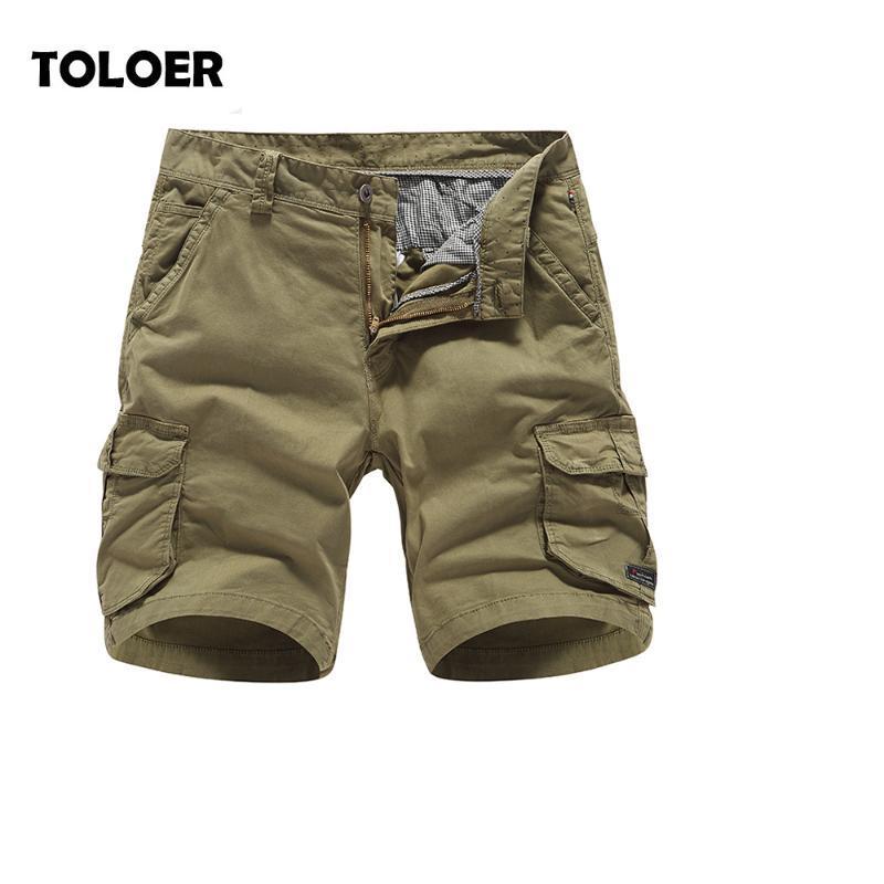 Herren Shorts 2021 Sommer Herren Fracht Lose Multi Pocket Military männer Massivfarbe Taktische Kurze Hosen Training Knielangen