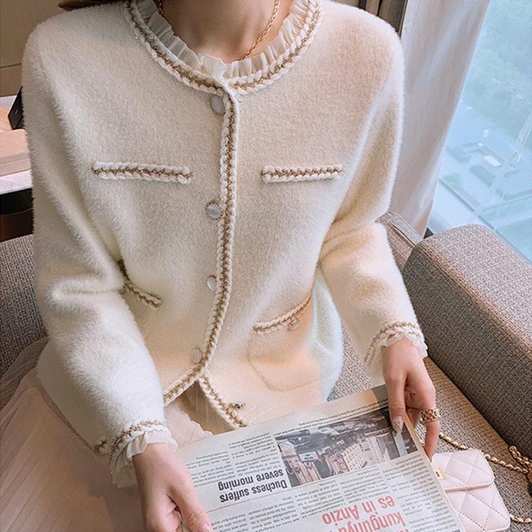 Небольшой аромат, сладкий темперамент, норка, как кашемировая куртка, женский новый корейский свободный вязаный кардиган осенью и зимой 2021