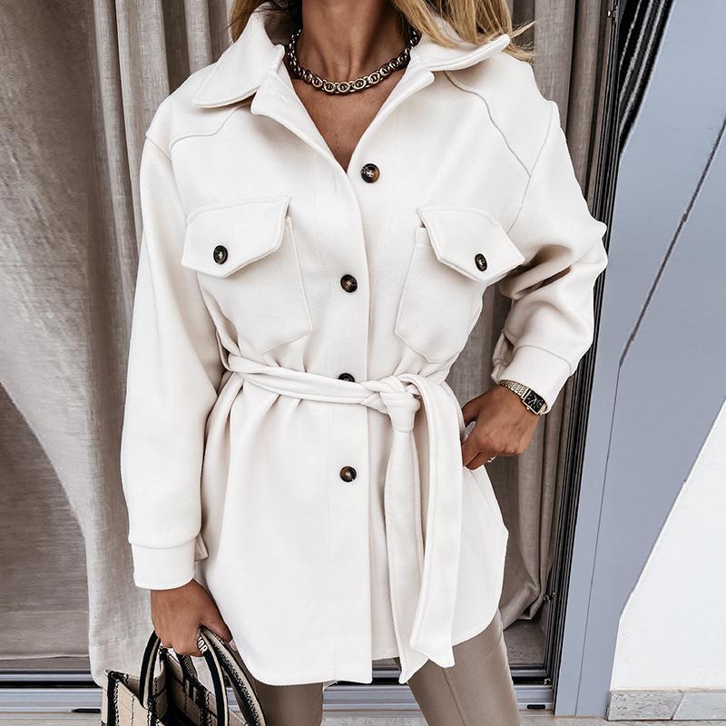 Giacche da donna Donna con cintura Giacca in lana Autunm Cappotto invernale Cappotto Capispalla Vintage Solid Tasche Solid Solly Pulsket Button Manica lunga Outwear 2021