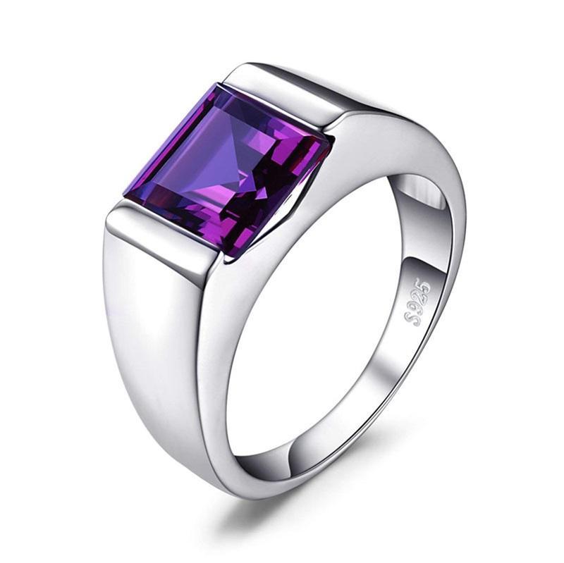 Anelli quadrato da uomo 3.3CT creato Alexandrite Sapphire 925 sterling sliver anello per uomo Fine Jerwelry Moda Style648 T2