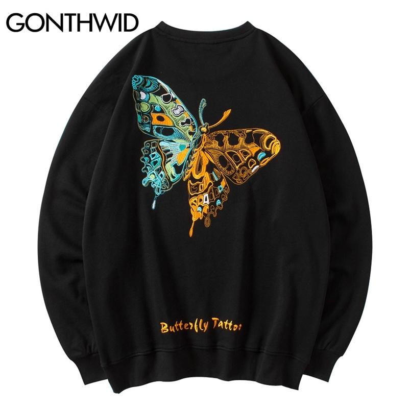 Gonthwid HIP HOP Brodery Butterfly Sweatshirts Streetwear Mens Harajuku Fashion Casual Pull Sweats à capuche Hipster Tops Manteaux 210728