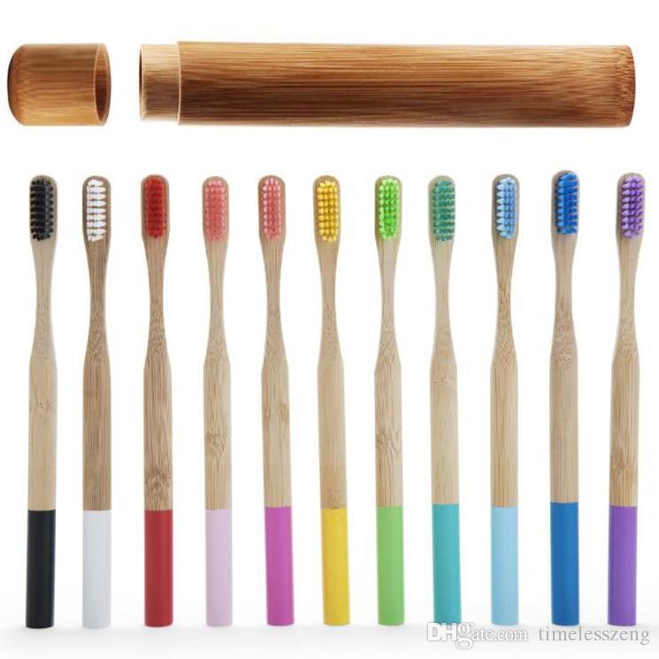 Bamboo Toothbrush Set Rainbow Toothbrush 1pc Bamboo Tube Eco Friendly Natural Bamboo Toothbrush Travel Case Soft Head Teeth dff0183
