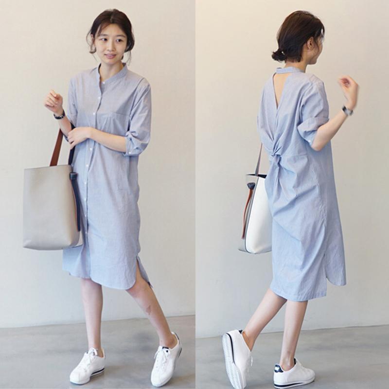 여성 셔츠 드레스 여름 스트라이프 버튼 푸른 짧은 짧은 미니 섹시 백리스 중간 길이 캐주얼 드레스