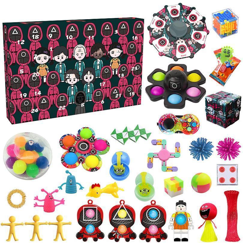 Confezione del partito Fidget Toys Squid Game Countdown 24 giorni Avvento Calendario Pacchetto Anti Stress Kit Sollievo Filt Toy Blind Box Bambini regalo di Natale Helloween