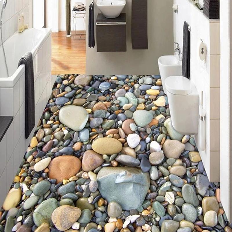 Personalizzato PO 3D Adesivo da pavimento impermeabile impermeabile autoadesivo Carta da parati Pietra Pietra Pebbles Soggiorno Piastrelle da bagno Piastrelle Decorazione Decorazione Sfondi