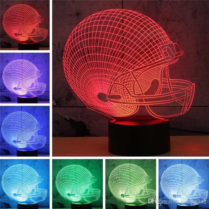 DHL لكرة القدم هدايا الصداقة 3D أدى ضوء الليل 7 لون تغيير بناء usb الوهم البصري ديكور المنزل الجدول مصباح الإضاءة الجدة
