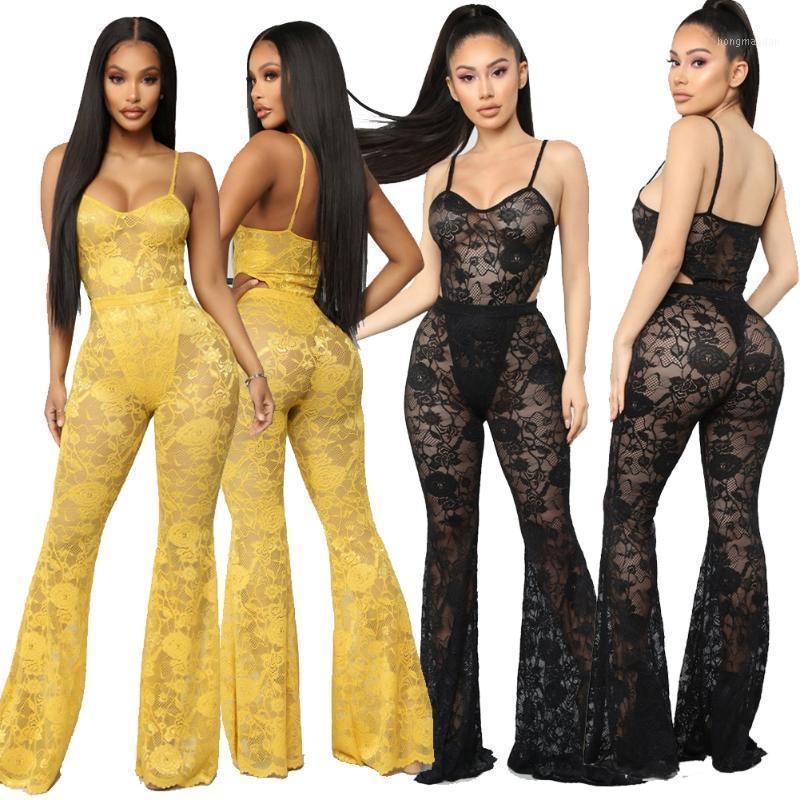 Vestido de duas peças 2 pcs Lace Full Lace Mulheres Sexy Spaghetti Strap Bodysuit + Cintura Alta Calças Elásticas Flare Set1