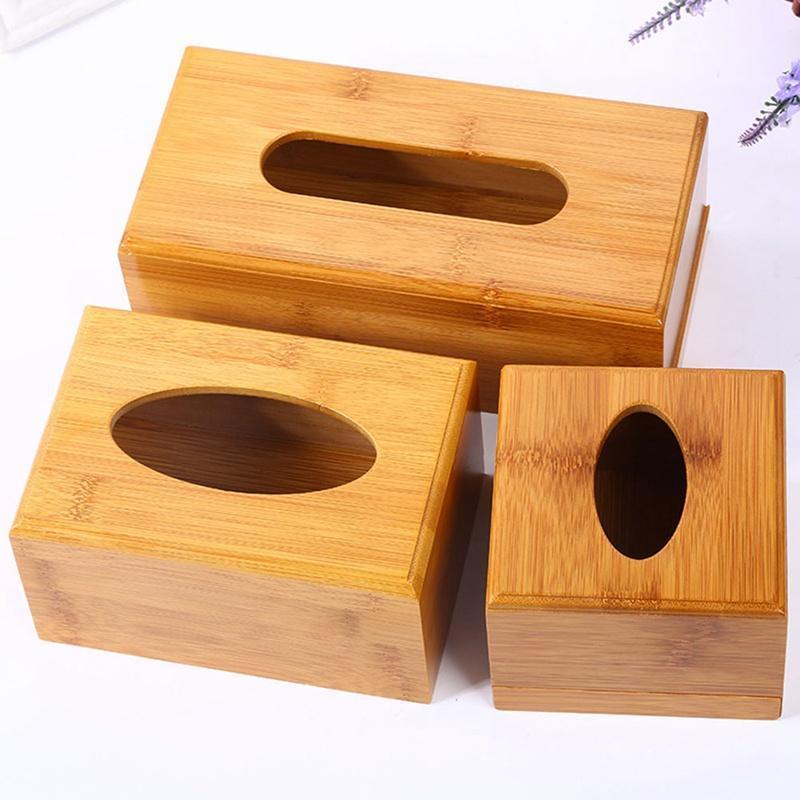 أزياء نمط الخيزران مربع الأنسجة مربع الإبداعية نوع مقعد لفة ورقة تخزين علبة صديقة للبيئة الخشب الجدول مربع ديكور صناديق المناديل