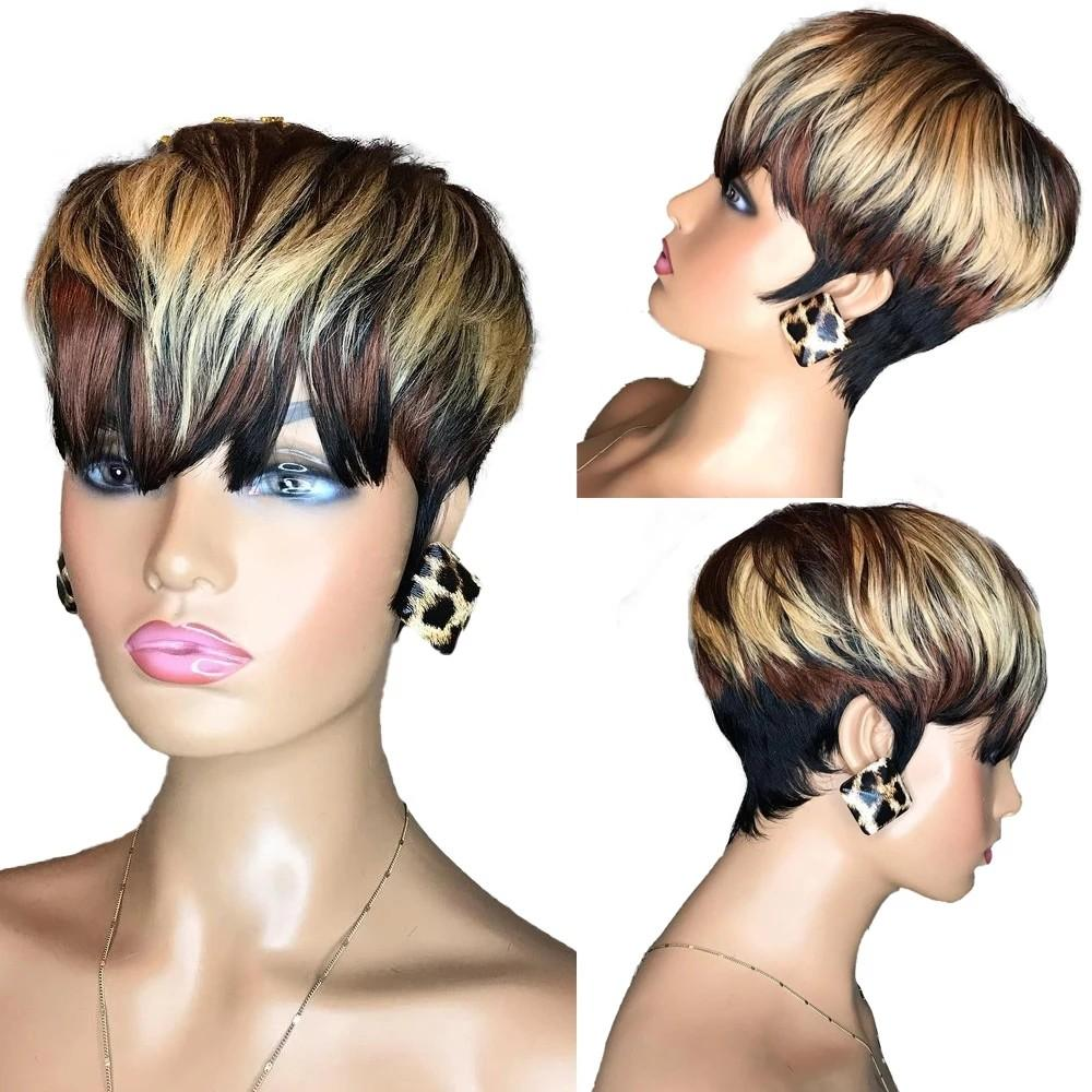 Short Straight Bob Pixie Cut None Lace Front Human Hair Black /Ombre Blonde Brown Wig With Bangs For Women