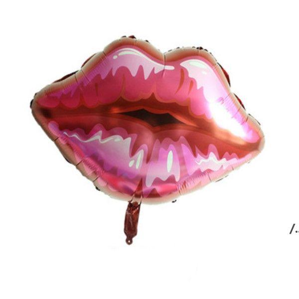 Decoración de la fiesta 75 * 75cm globos de helio de labios amor globos rosa globo rojo para el día de San Valentín besarme la decoración de la boda de la lámina AHE5852