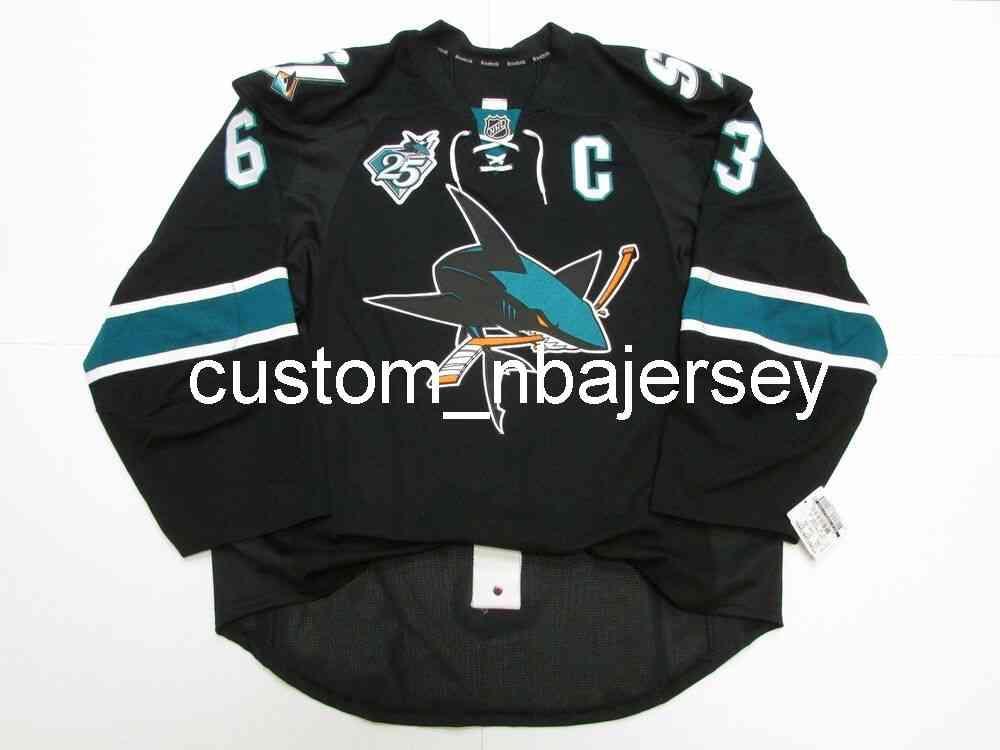 Ricamo Sawyers San Jose Sharks Terzo 25 ° Anniversario Jersey Custom Men's Hockey Jersey Aggiungi qualsiasi Nome Numero