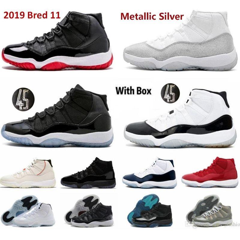 2021 Erkekler Basketbol Ayakkabıları 11s Yüksek Sneakers Jubilee 25th Yıldönümü 11 Bred Legend Mavi Paper Reçel Concord Pantone Serin Gri Düşük Kap ve Kıyafet 72-10 Gamma Erkek Eğitmenler