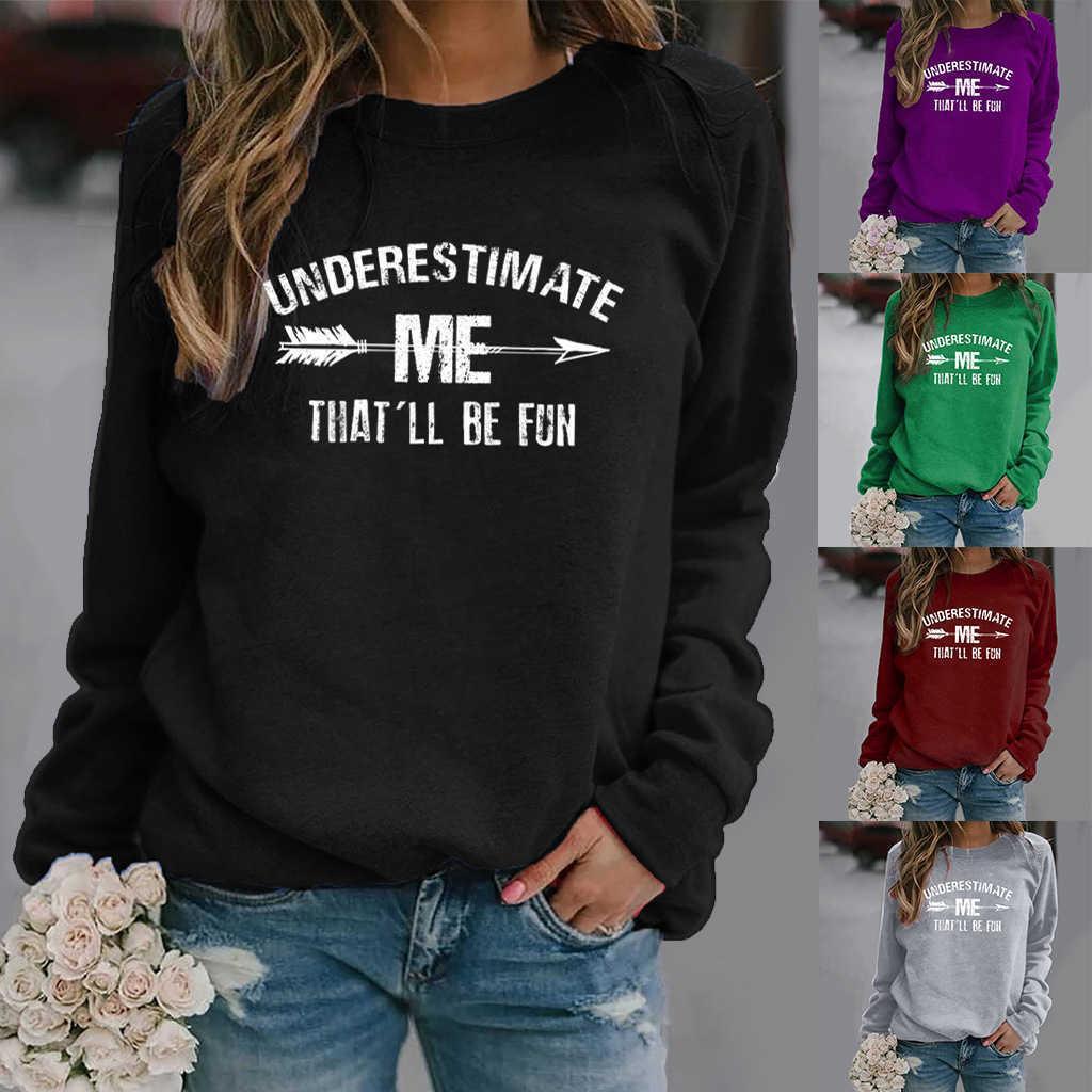 여성 까마귀가 나를 과소 평가할 것입니다 재미있는 편지 인쇄 후드 티 여성 양털 긴 소매 넥 스웨터 셔츠 소녀 풀오버 Q0901