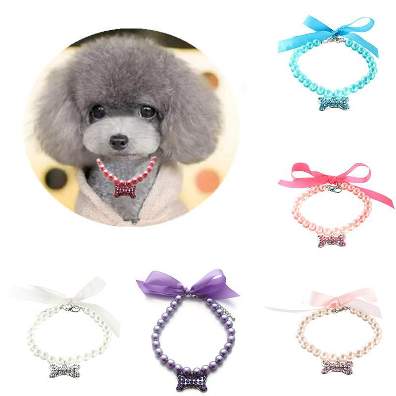 Dog Apparel Cute Pet Pearls Necklace Collar With Shiny Bone Pendant Charm Puppy Wedding Jewelry Accessories For Female Dogs Cats