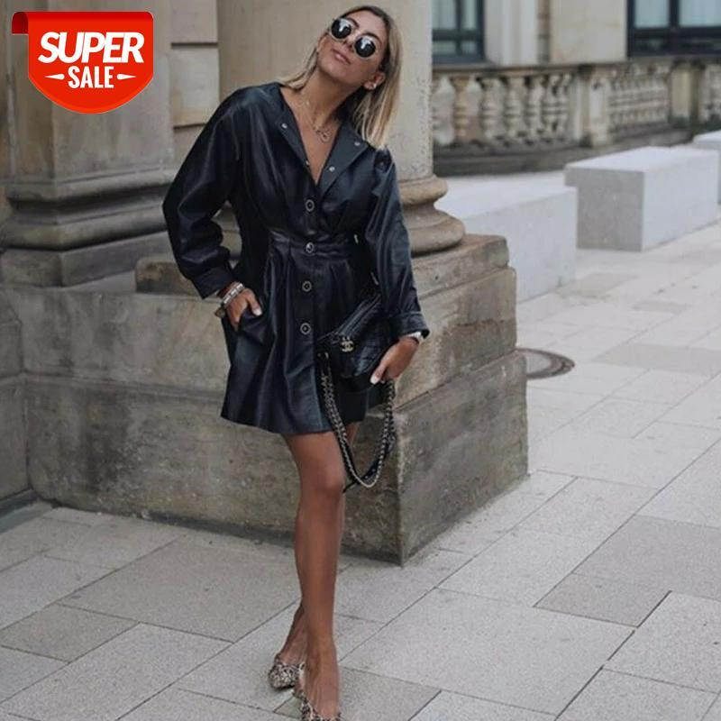 Hirigin Primavera Mulheres Bolso De Couro Vestido Sólido Ultraleve Quente Vestidos Retro Preto Moda Senhoras Tops Vestido # 3U7H