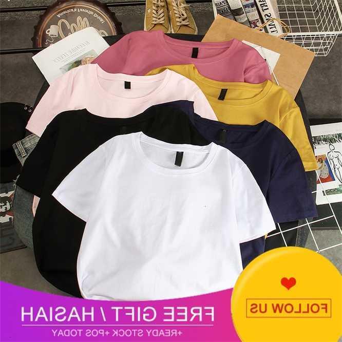 Loose 2021 novo verão coreano cor sólida t-shirt de manga curta para meninas
