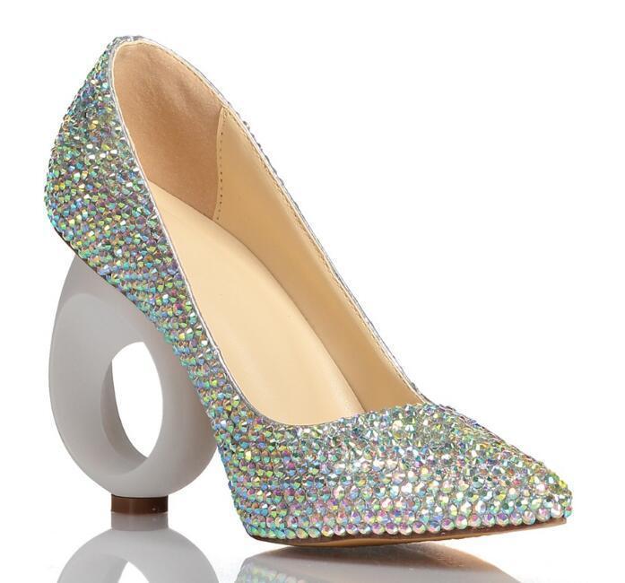 Moda Gümüş Bling Rhinestones Tasarım kadın Yüksek Topuk Pompaları Yaz Parti Düğün Sivri Burun Gelin Kristal Ayakkabı Elbise