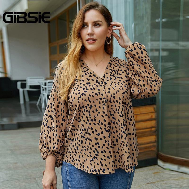 Plus Size V-Ausschnitt Langarm Drucken Top Bluse Frauen Herbst Laterne Freizeit Arbeitskleidung Womens Tops und Blusen Damenhemden