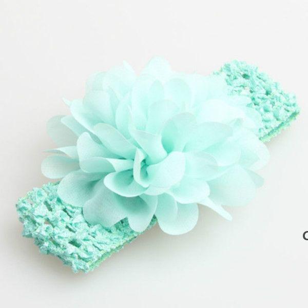 Favorito de fiesta bebé cabezal de cabeza de cabeza accesorios para el cabello de 4 pulgadas de flores de gasa con crochet elástico suave diademas de crochet elástico DHE5649