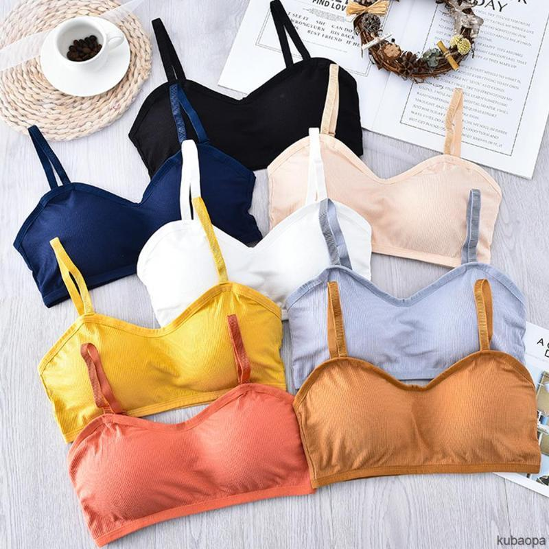 Camisoles & Tanks Double-breasted Gather Bras For Female Students Beauty Back Sling Underwear KU