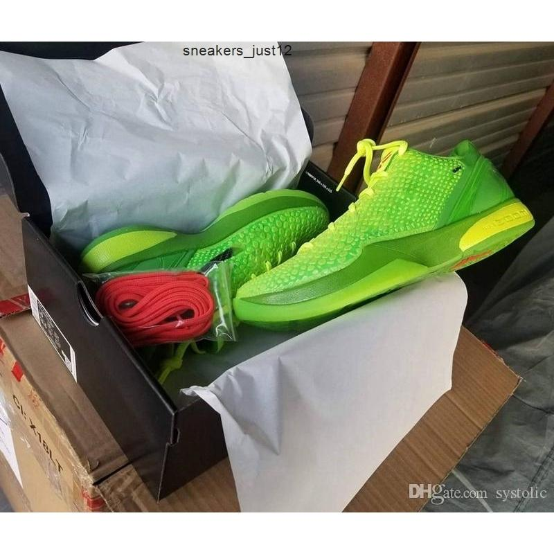 2020 Yeni Otantik Noel 6 Protro Grinch Mamba Yeşil Elma / Volt-Crimson-Siyah Adam Açık Ayakkabı Spor Sneakers Orijinal Kutusu ile