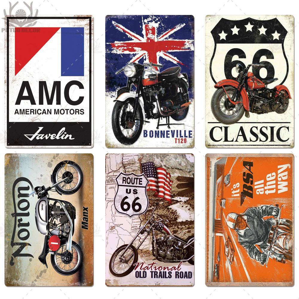 2021 Moto Metal Peinture Signes Plaque Vintage Vintage Récupérateur Moteur Panneau Panneau mural Pour garage Bar Pub MAN CAVE PLAQUE DE PEINTURE DE FER