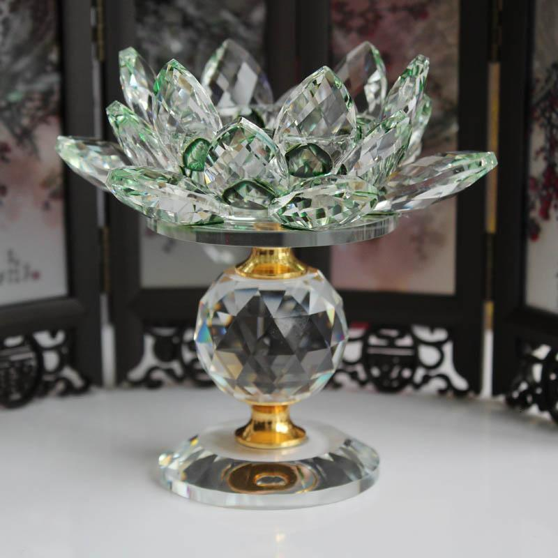 Crystal Glass Block Lotus Flower Metal Candle Holders Feng Shui Home Decor Big Tealight Candle Stand Holder Candlesticks
