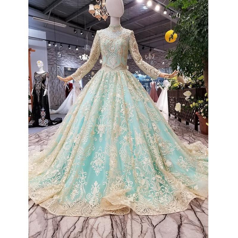 31127HT 가벼운 파란색 반짝 이는 신부 드레스 하이 넥 긴 얇은 얇은 얇은 얇은 공 볼 가운 이슬람 저녁 스윕 기차 파티 드레스