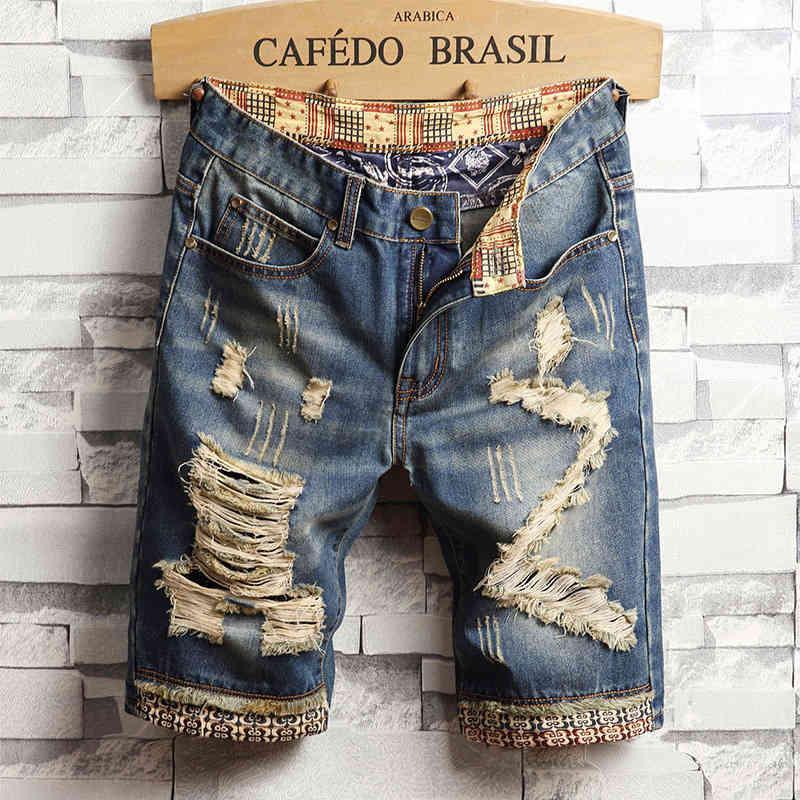 Summer Treat Trend Trend Denim Shorts Grandi Pantaloni per mentalità allentati per uomo di grandi dimensioni