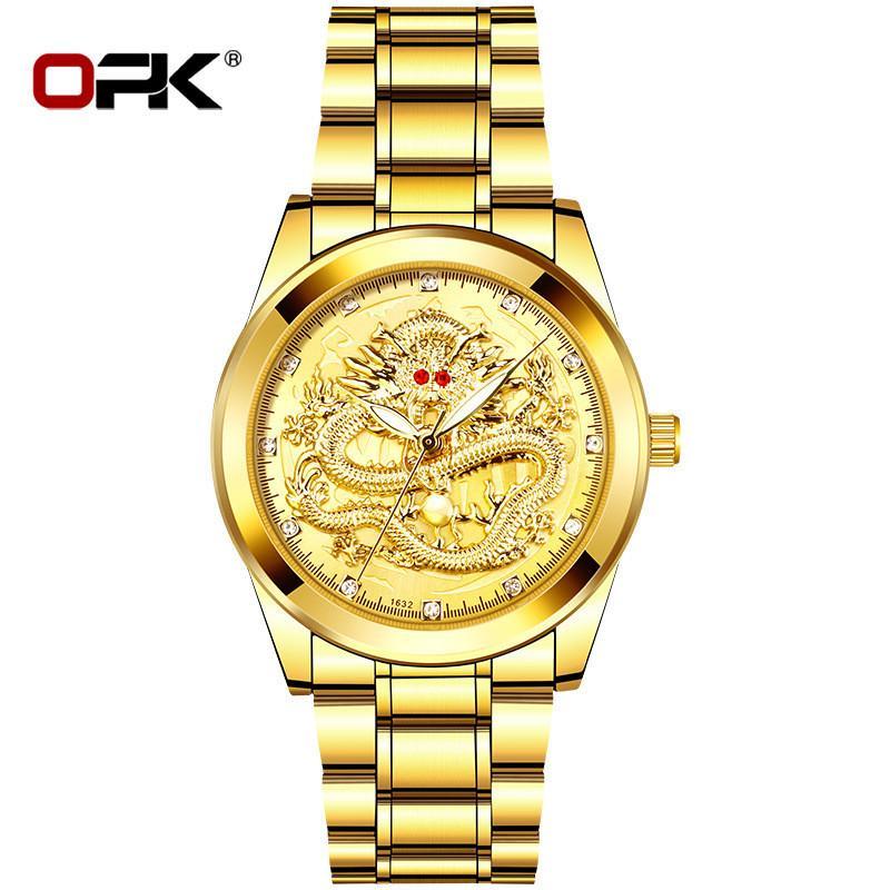 OPK 브랜드 손목 시계 고급 드래곤 시계 브랜드 남성용 손목 시계 여성용 손목 시계 쿼츠 relogio 다이아몬드 아날로그 시계 스테인리스 케이스 시계 밴드