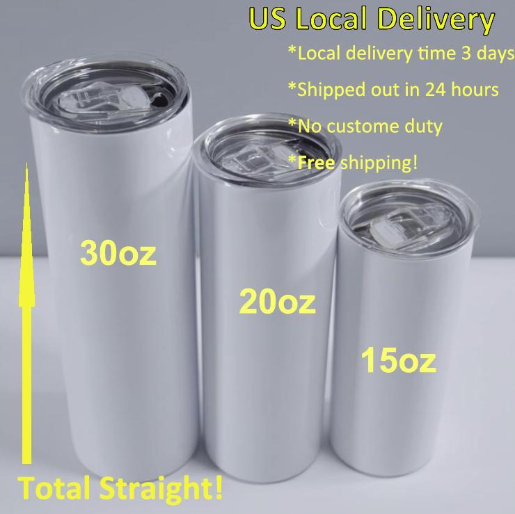 US-Lager 15-30OZ SULLIMATION Gerade Tumbler mit Strohleinen Edelstahl Glänzend Becher Wasserflasche Doppelwand Vakuum isoliert Becher Schnelle Lokale Lieferung