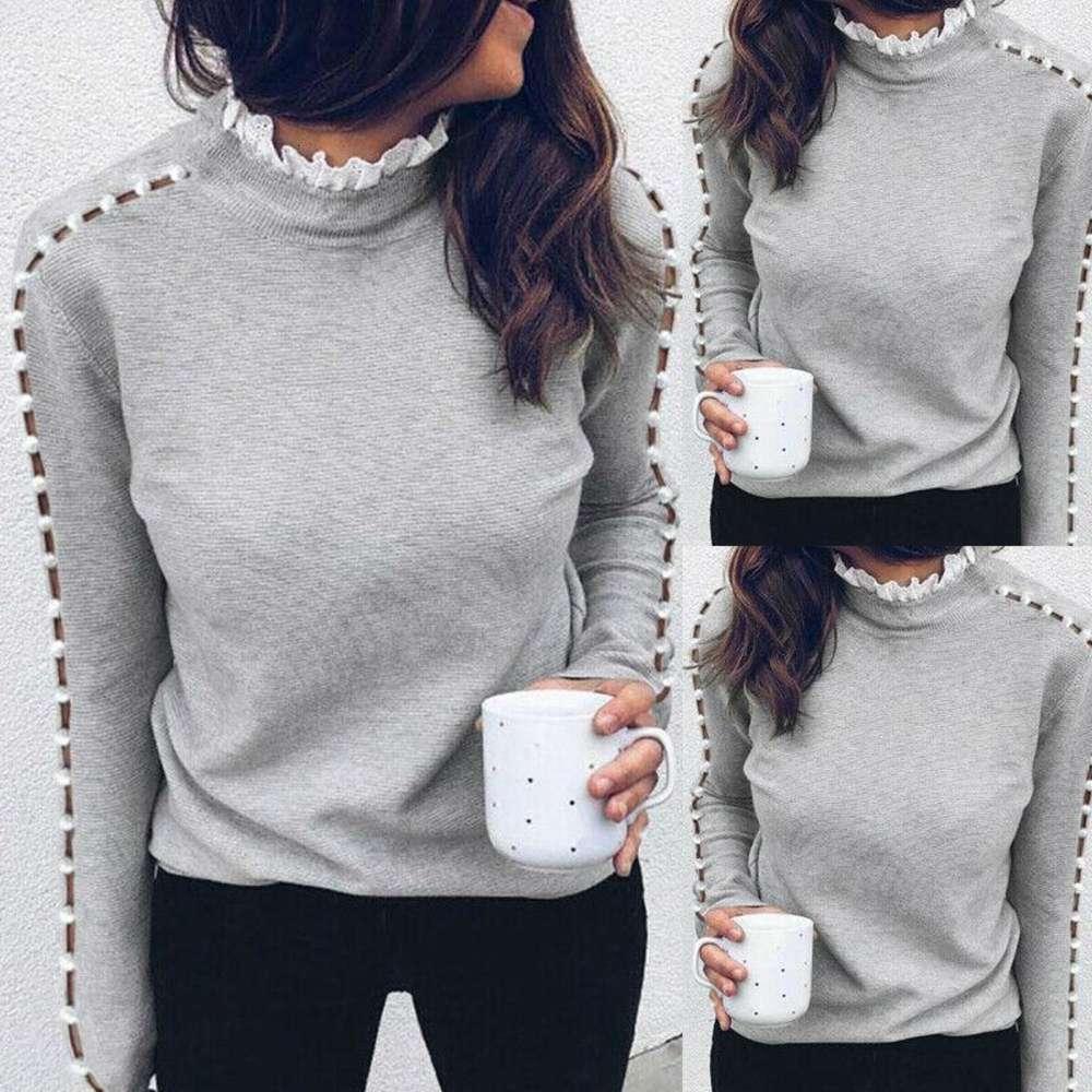 여성용 레이스 터틀넥 니트 버튼 긴 소매 점퍼 스웨터 가을 겨울 숙녀 솔리드 컬러 풀오버 top1