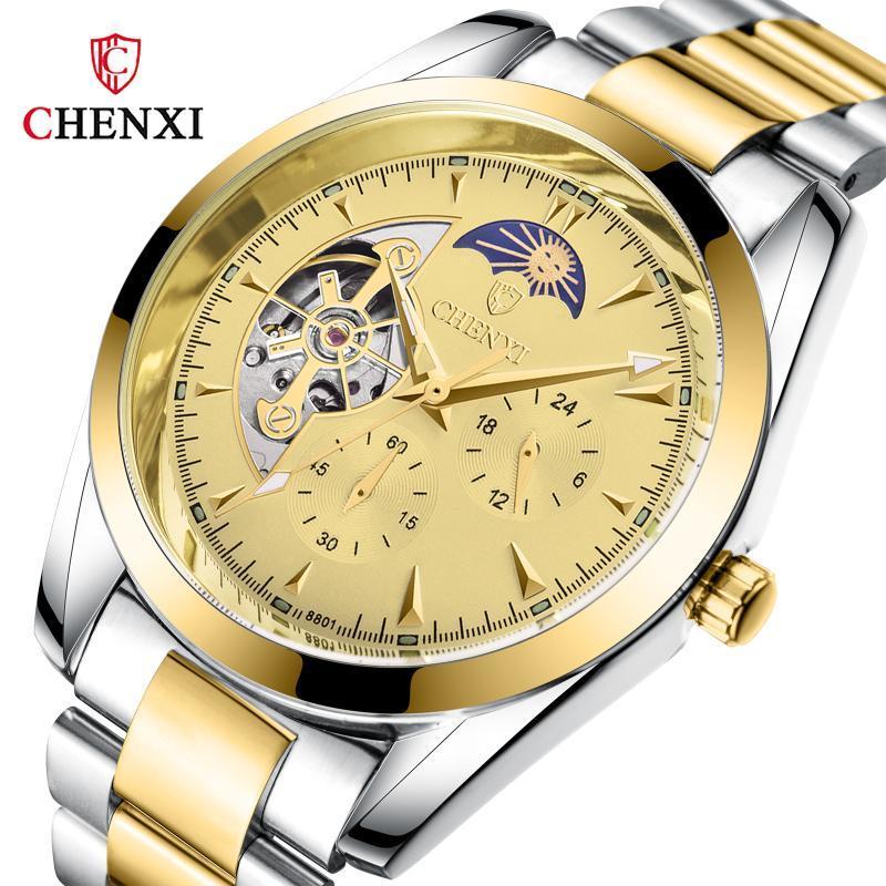 Chenxi Top Moda automática automática Reloj mecánico de acero completo Design Golden Design Moon Fase de exhibición Mens Relojes Relojes de pulsera