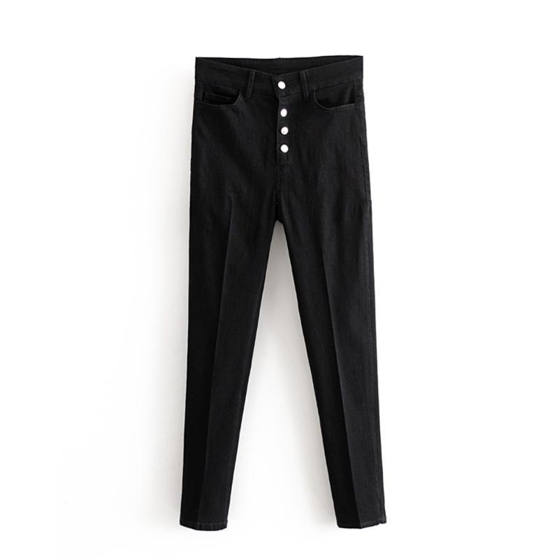 여성용 바지 카프리스 이른 봄 2021 마른 검은 색 버튼 깃털 높은 허리 슬림 작은 다리 청바지 07513249800