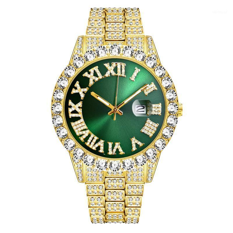HIP HOP TREND TREND 18K GOLD Diamond Mens Watch Top Oled Out Watero Cartz Reloj Hombre Writwatches1