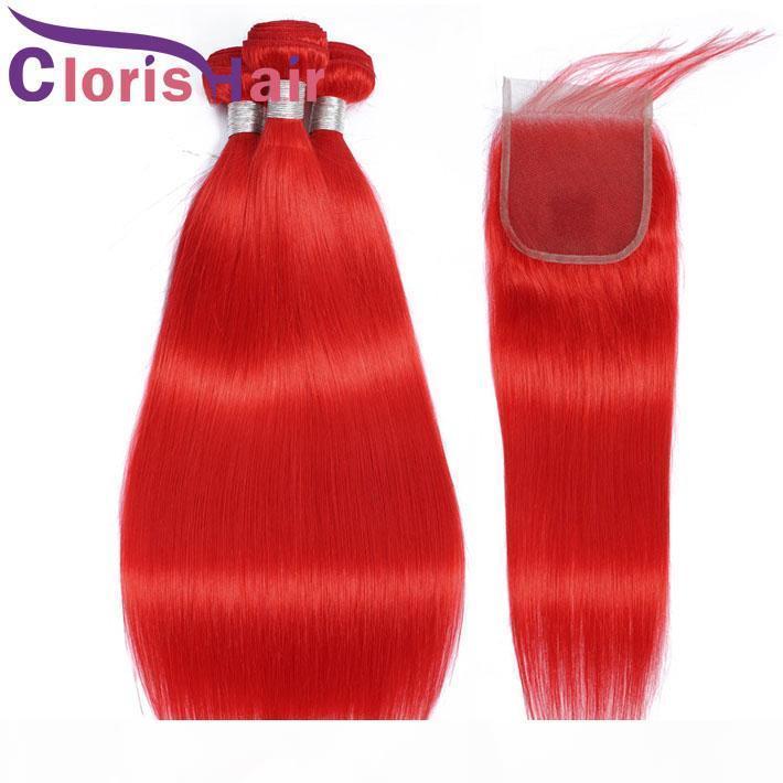 Paquetes de pelo humano coloreados rojos con cierre de encaje Sedoso recto brasileño de color brasileño coloreado de tejido 4pcs extensiones rojas y cierres superiores