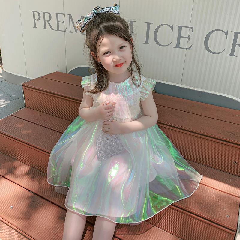 Baby Girls Summer Shining Dress Kids Performance Party Wear Princess Evening Dresses Teenager Wedding Girl's