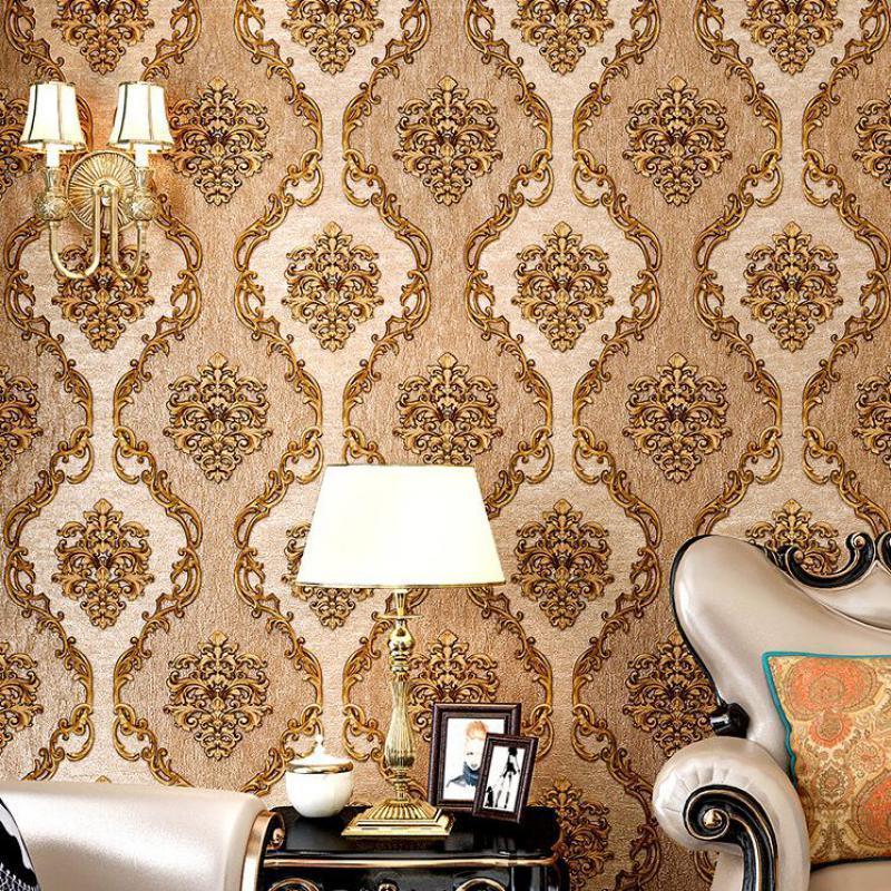 Şam Avrupa tarzı Kahverengi Kabartmalı 5.3 Kare PVC Su Geçirmez Oturma Odası Yatak Odası Yemek Ev Dekorasyon Duvar Kağıdı Duvar Kağıtları