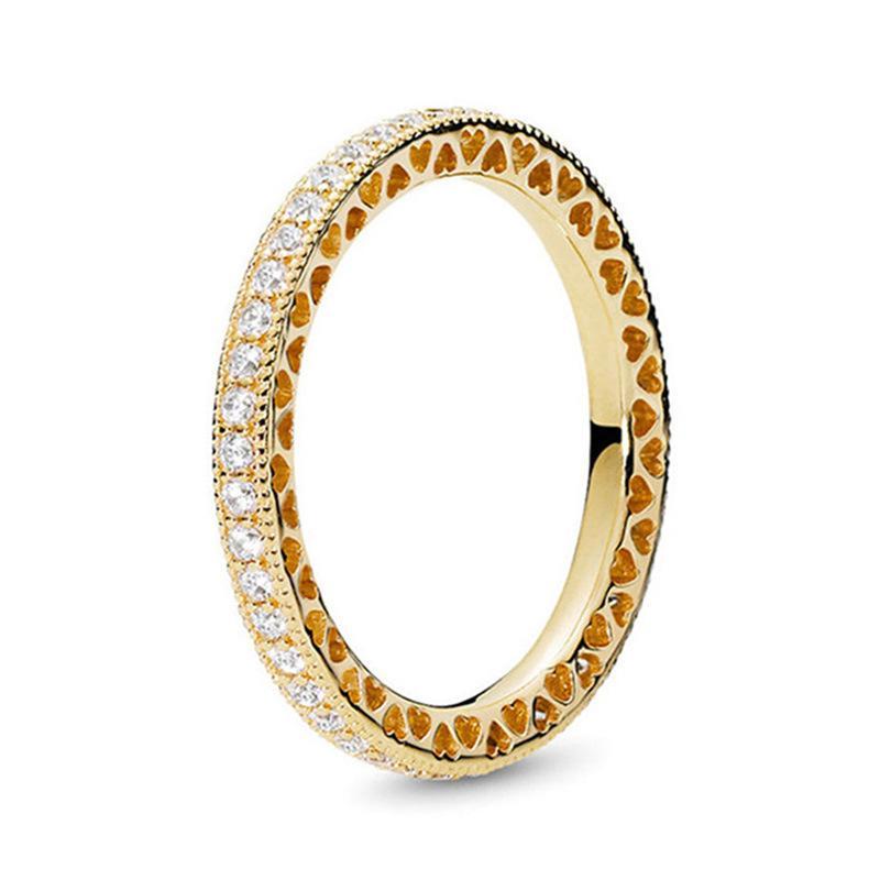 Fanshi Cross Frontera Venta caliente Eterno Corazón Anillo Temperamento Ring Temperamento Moda simple Peach Formado para Padra WeddingHolk Out Ring780 T2