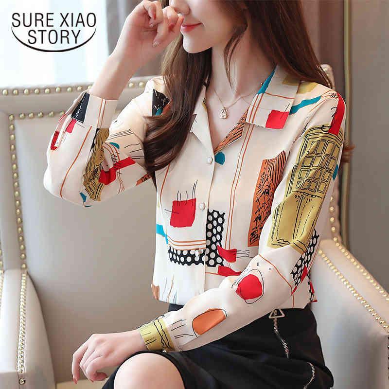 Moda de Outono Coreano Manga Longa Chiffon Shirts Impressão Botão Terno Colares Camisa Mulheres Tops e Blusas 6516 50 210417