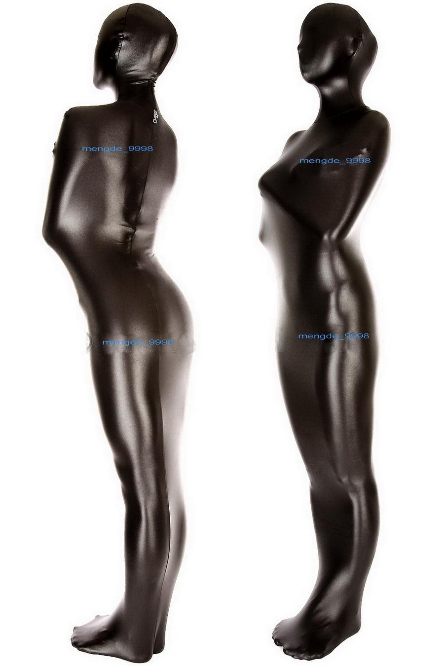 Unisex Full Mummy Costumes Black Shiny Metallic Bag Sleeping Bag Back Zip Sexy Donne da uomo Borse per il corpo Sleepsacks Catsuit Costume Costume Halloween Fancy Dress Cosplay Vestito M082