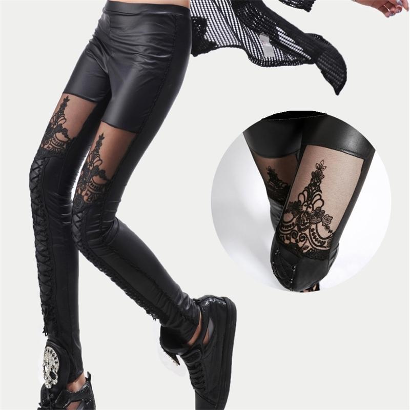 Yüksek Kalite Toptan Punk Siyah Faux Deri Gotik Dantel Legging Kadın Bandaj Lace Up Tayt Pantolon Pantolon 210520