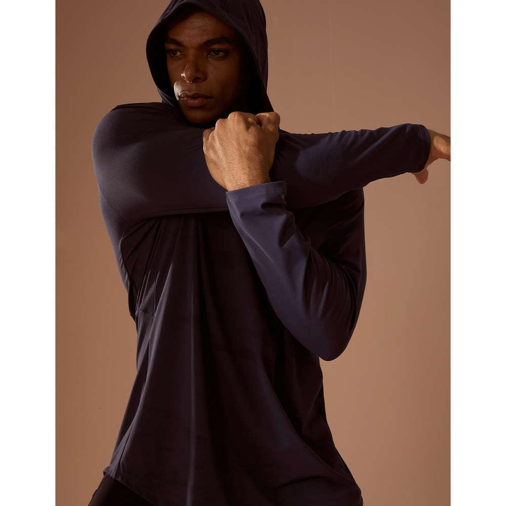 Sportswear Herren Top mit Kapuze Fitness Langarm lässig läuft lose elastische doppelte, schleifende Yogaanzug Herbst und Winter