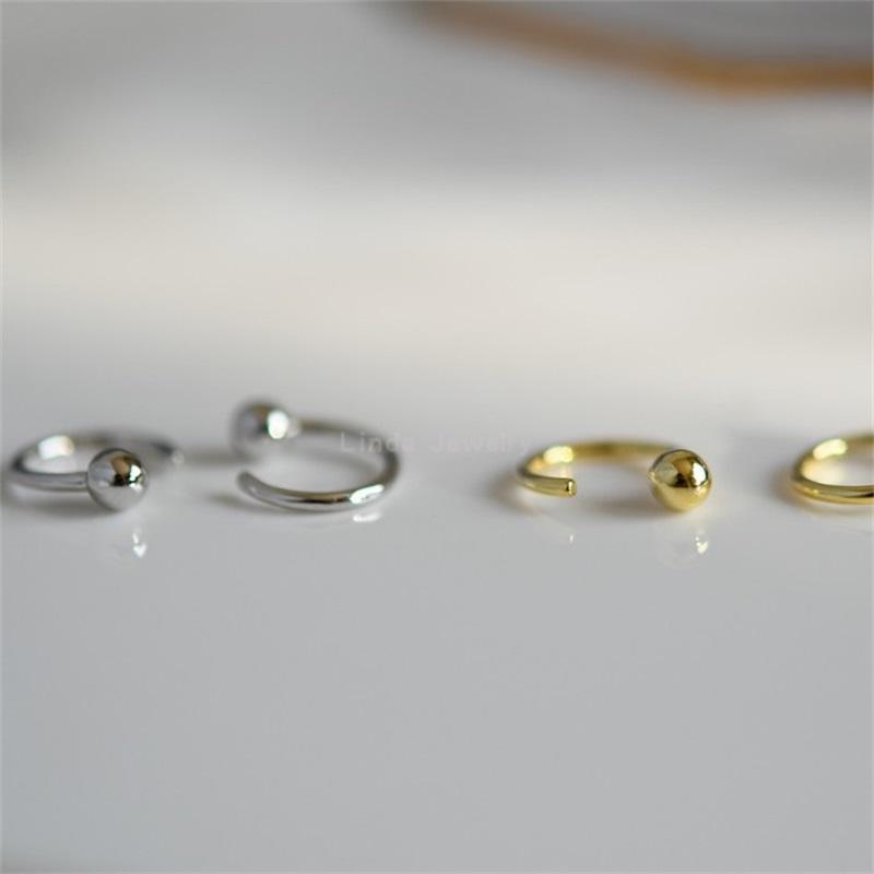 Canner 925 стерлинговые серебряные серебряные серебряные серьги для женщин Ушные крючки для пирсинга ушные костные костные колонны кольцо из тонких ювелирных изделий 1420 Q2