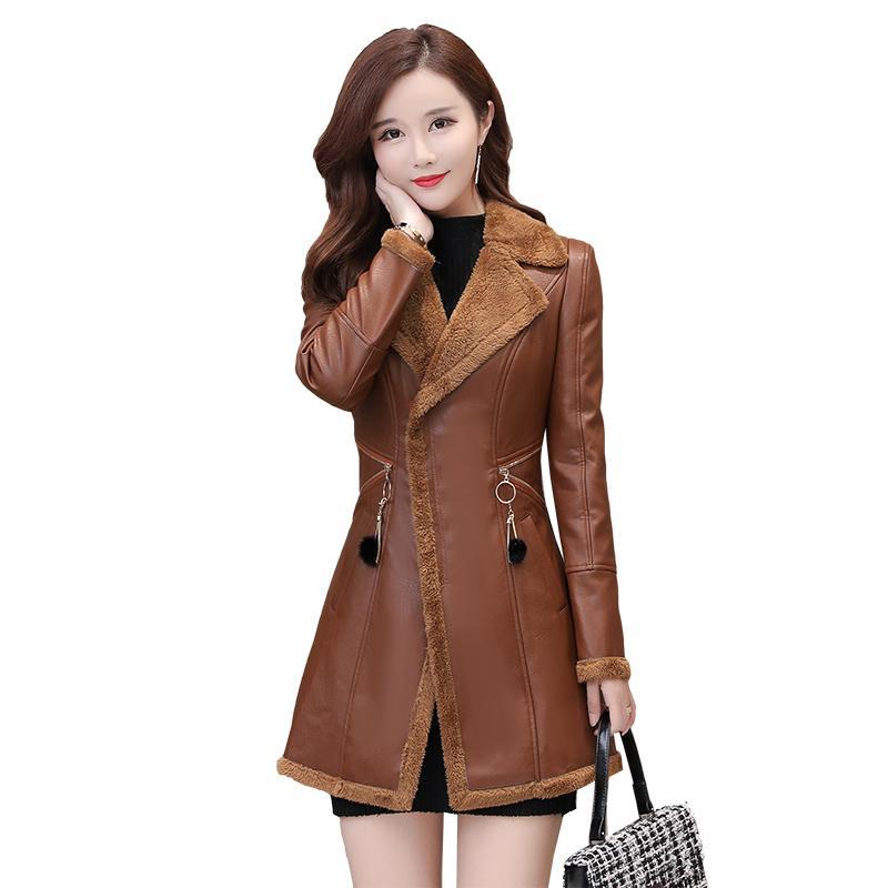 Grandi Dimensioni Donne Autunno Inverno Nuova Giacca Faux Plus Velvet Slim Long Ladies Cappotti PU Leather Coat Zappel Windbreaker 3XL