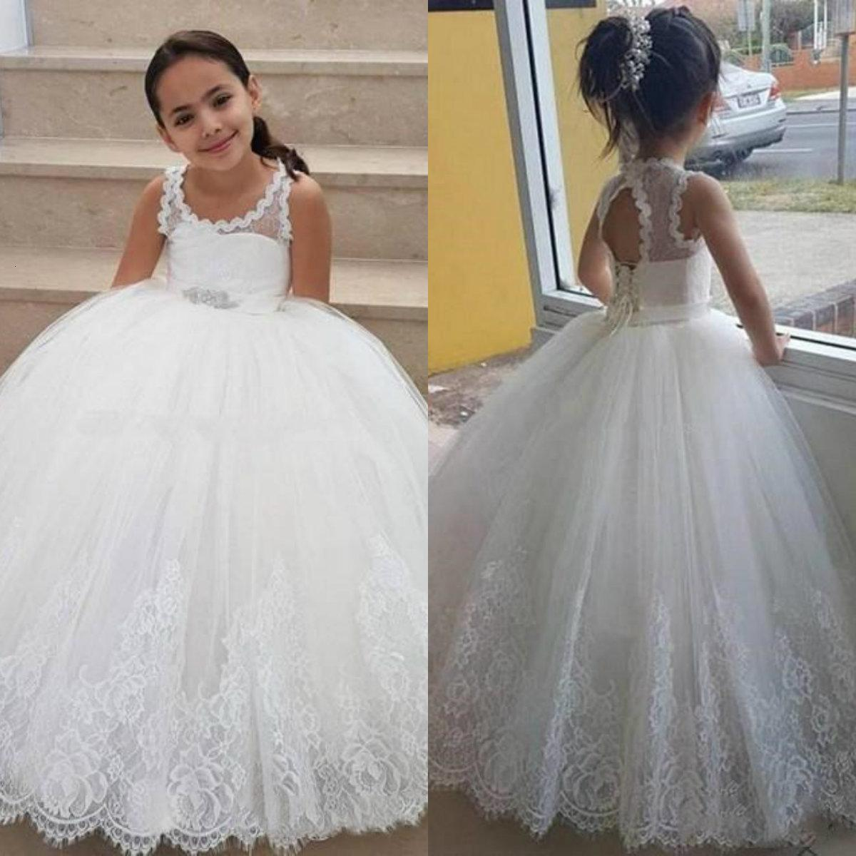 2019 Robes de fille de fleur de tulle blanche pour la dentelle de mariage Applique longueur longueur filles robes de robe