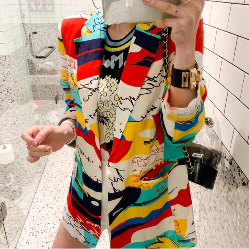 Moda renkli blok mektup baskı feminino kadınlar uzun kollu blazer çentikli yaka ceket kadın gevşek giyim 210416
